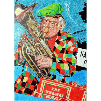 Bob Kerr's Whoopee Band mixed media on paper by Stella Tooth