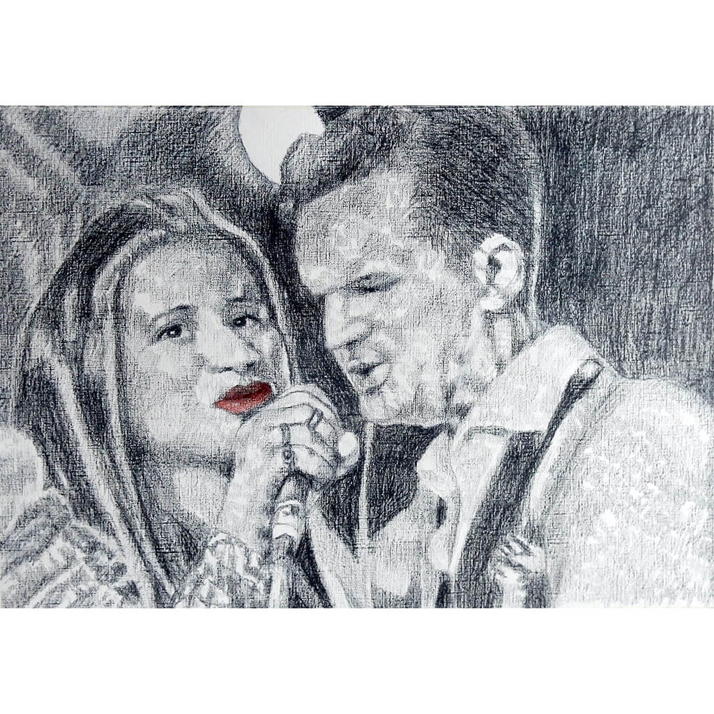 CASH and Carter at the Half Moon Putney Original Drawing by Stella Tooth