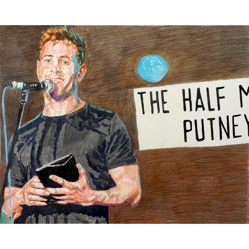 Simon Brodkin comedian performing at the Half Moon Putney original mixed media drawing on paper artwork by Stella Tooth