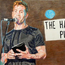 Load image into Gallery viewer, Simon Brodkin comedian performing at the Half Moon Putney original mixed media drawing on paper artwork by Stella Tooth Detail