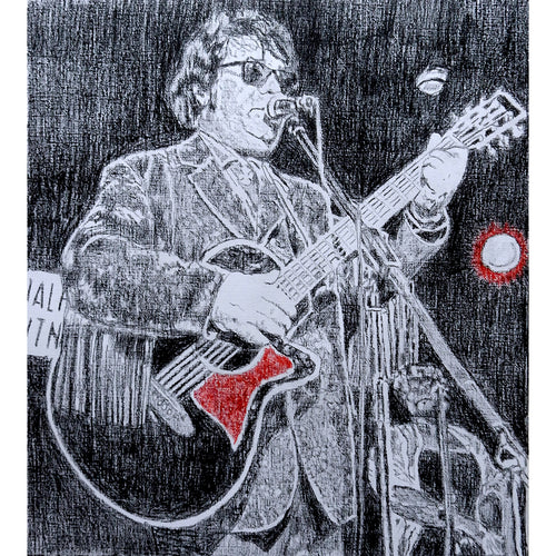 Roy Orbison's black & white night revisited pencil on paper by Stella Tooth