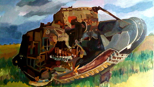 Deborah WWI tank oil on canvas by Stella Tooth