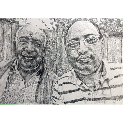 Dipendra and father commission pencil on paper by Stella Tooth
