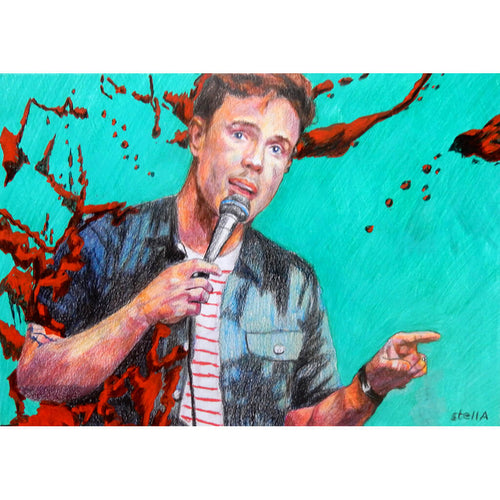 Comedian Ed Gamble mixed media on paper artwork by Stella Tooth