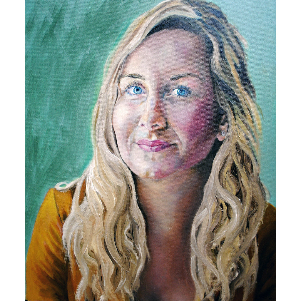 Eleanor Gibson oil on canvas portrait artwork by Stella Tooth