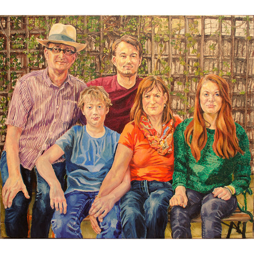 Family portrait commission oil on canvas by Stella Tooth