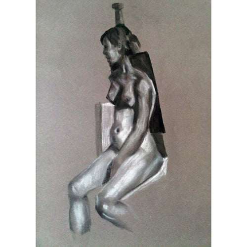 Female nude chalk charcoal life drawing on paper by Stella Tooth Portrait Artist