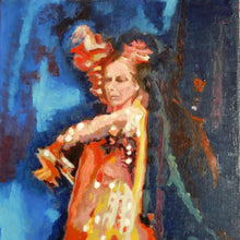 Load image into Gallery viewer, Spanish flamenco dancer dancing in Seville Spain oil on canvas original artwork by portrait painter Stella Tooth detail