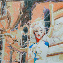 Load image into Gallery viewer, Good art walks a tightrope Venice busker by Stella Tooth Artist Detail