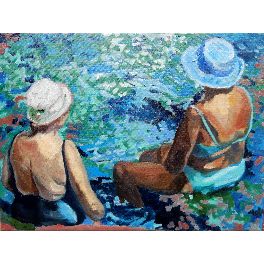 Groovin on a sunny afternoon oil on canvas drawn artwork by Stella Tooth