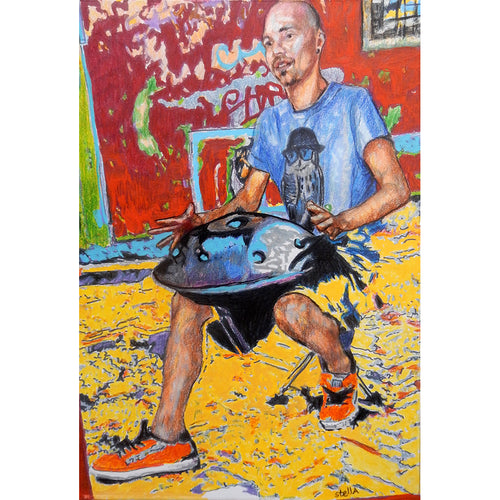 Harmonic art handpan busker mixed media on paper artwork by Stella Tooth