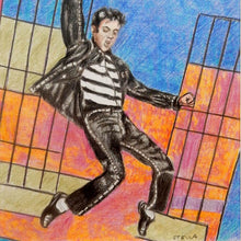 Load image into Gallery viewer, Jailhouse Rock oil on canvas painting of singer Elvis Presley by Stella Tooth detail