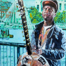 Load image into Gallery viewer, West African kora player musician performing on London's South Bank mixed media drawing on paper artwork by Stella Tooth detail