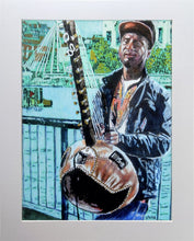 Load image into Gallery viewer, West African kora player musician performing on London's South Bank mixed media drawing on paper artwork by Stella Tooth display