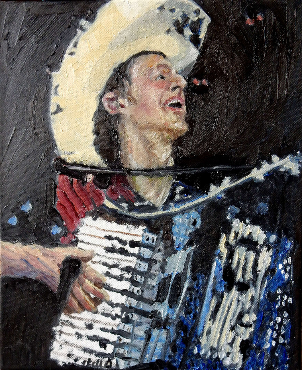 Los Pacaminos accordionist oil on canvas artwork by Stella Tooth