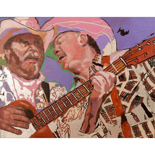 Los Pacaminos with Paul Young acrylic on canvas by Stella Tooth