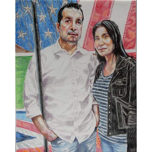 Marco Brandolini and Jennifer Lee pencil on paper by Stella Tooth