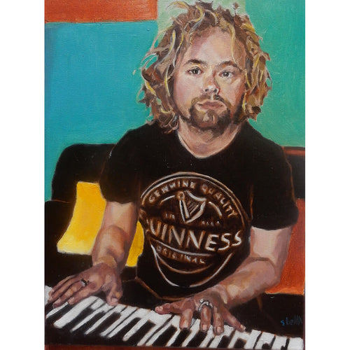 Marky Dawson performing in lockdown, oil on canvas artwork by Stella Tooth