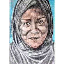Load image into Gallery viewer, Nadiya Jamir Hussain by Stella Tooth original mixed media portrait drawing on paper of television presenter and chef