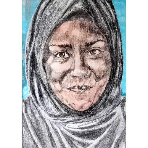 Nadiya Jamir Hussain by Stella Tooth original mixed media portrait drawing on paper of television presenter and chef