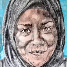 Load image into Gallery viewer, Nadiya Jamir Hussain by Stella Tooth original mixed media portrait drawing on paper of television presenter and chef detail