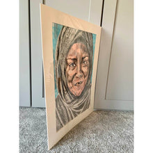 Load image into Gallery viewer, Nadiya Jamir Hussain by Stella Tooth original mixed media portrait drawing on paper of television presenter and chef side