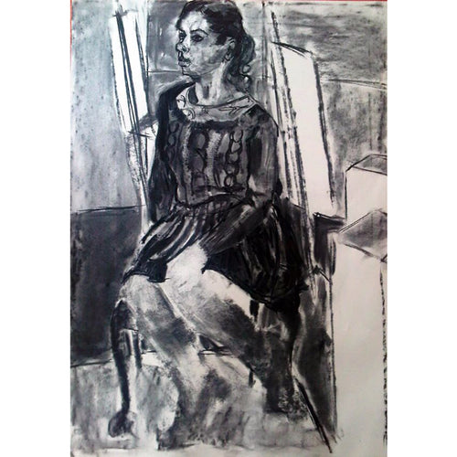 NATASHA – SEATED STUDY charcoal on paper by Stella Tooth