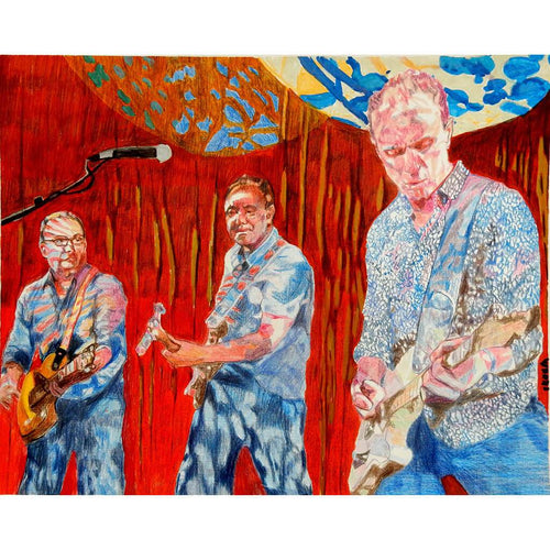 Nick Masons Saucerful of Secrets at the Half Moon Putney mixed media of by London based musician artist Stella Tooth