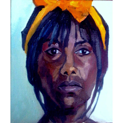 Pauline in yellow ribbon oil on canvas artwork by Stella Tooth