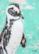 Load image into Gallery viewer, Percy penguin pencil on paper by Stella Tooth