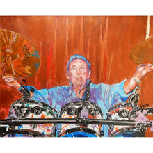 Load image into Gallery viewer, Pink Floyds Nick Mason at the Half Moon Putney mixed media portrait of by London based musician artist Stella Tooth