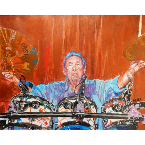 Pink Floyds Nick Mason at the Half Moon Putney mixed media portrait of by London based musician artist Stella Tooth