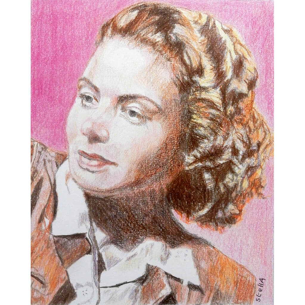 Ingrid Bergman mixed media on paper by Stella Tooth