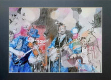 Load image into Gallery viewer, Police Dog Hogan at the Half Moon Putney Mixed media on paper of musician by London based performer artist Stella Tooth Display
