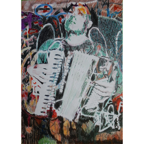 Police Dog Hogan accordionist Shahen Galichian mixed media on paper by Stella Tooth