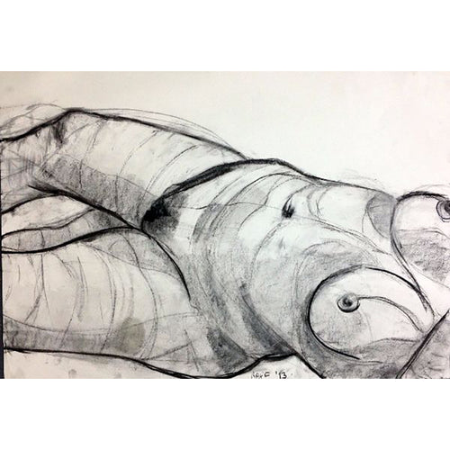 Raff life drawing conte on paper by Stella Tooth Portrait Artist