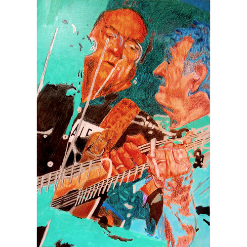 Ralph McTell mixed media on paper drawn artwork by Stella Tooth