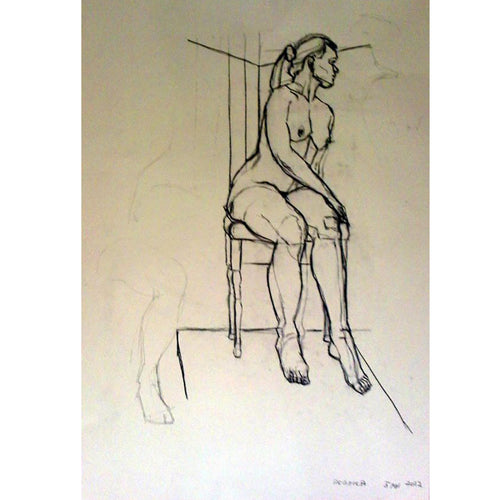 REBECCA LIFE DRAWING  conte on paper by Stella Tooth