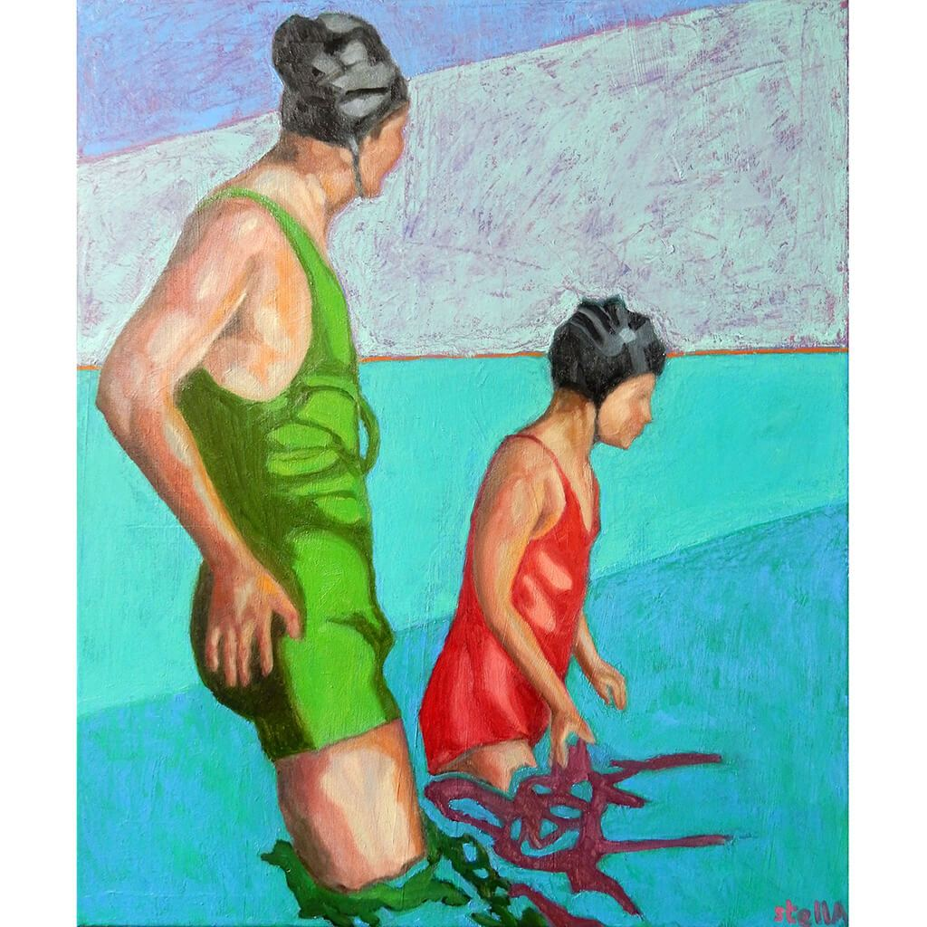 Reflections oil painting on canvas of people swimming in aqua blue by London based portrait artist Stella Tooth