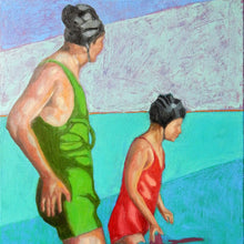 Load image into Gallery viewer, Reflections oil painting on canvas of people swimming in aqua blue by London based portrait artist Stella Tooth