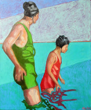 Load image into Gallery viewer, Reflections oil painting on canvas of people swimming in aqua blue by London based portrait artist Stella Tooth Display