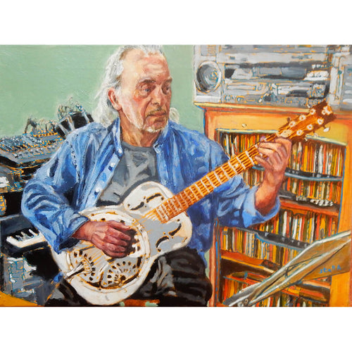 Robert Hokum performing in lockdown oil on canvas artwork by Stella Tooth