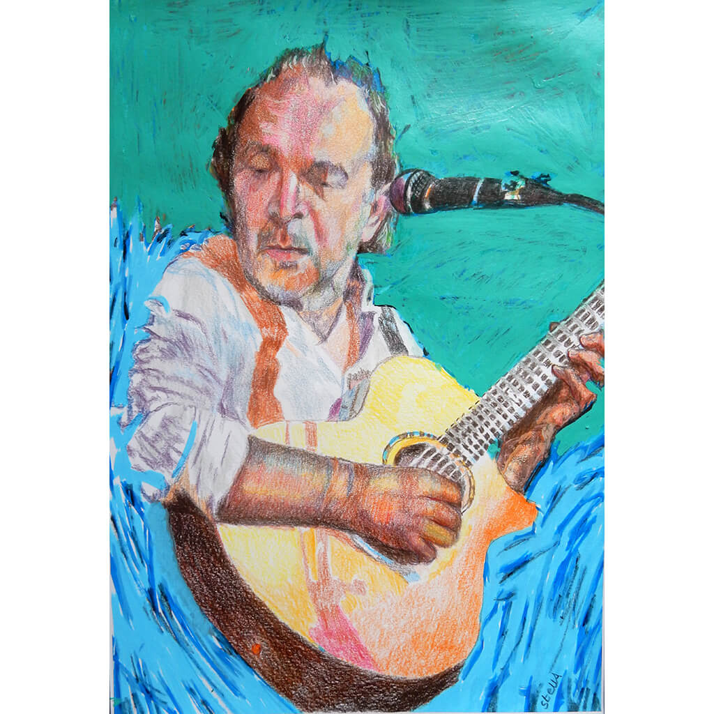 Robert Hokum of The Ealing Club, mixed media on paper artwork by Stella Tooth