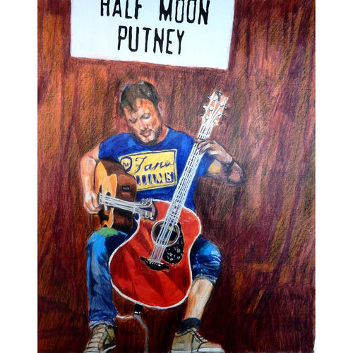 Rodney Branigan at the Half Moon Putney mixed media portrait of guitarist by musician artist Stella Tooth