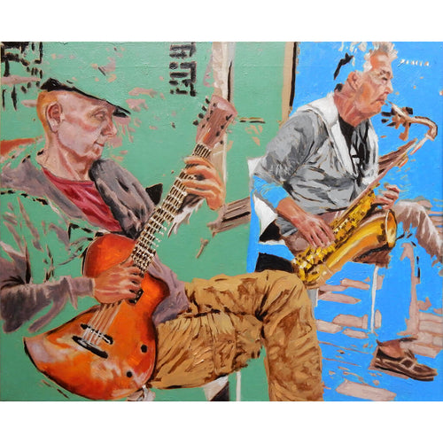 Roy Gee and Matt Wall Brighton buskers oil on canvas by Stella Tooth