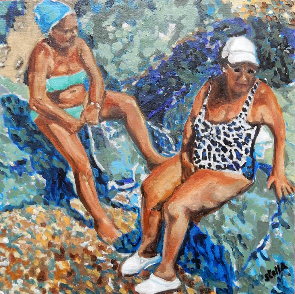 An original oil painting on canvas of friends on a Mediterranean holiday in Italy, painted by London artist Stella Tooth. A work of art in hues of blue and turquoise