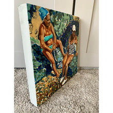 Load image into Gallery viewer, An original oil painting on canvas of friends on a Mediterranean holiday in Italy, painted by London artist Stella Tooth. A work of art in hues of blue and turquoise side