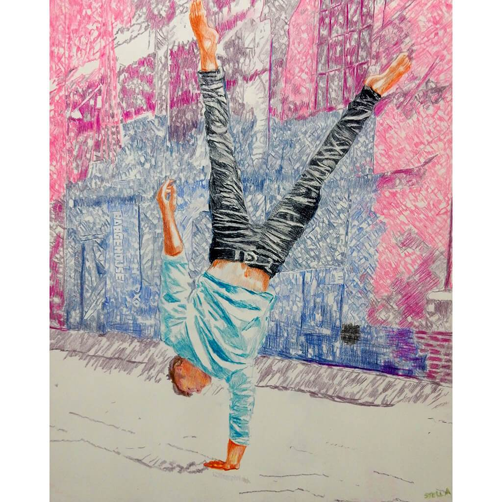 Jonathan Last street performer South Bank London acrobat portrait drawing original artwork by Stella Tooth artist