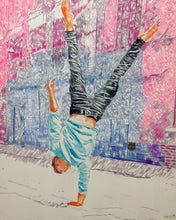 Load image into Gallery viewer, Jonathan Last street performer South Bank London acrobat portrait drawing original artwork by Stella Tooth artist display