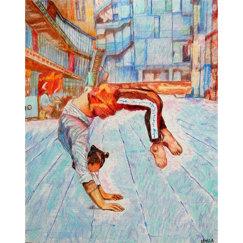 Manuele d'Aquino street performer South Bank London acrobat portrait drawing original artwork by Stella Tooth artist